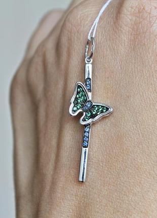 Серебряный подвес бабочка2 фото