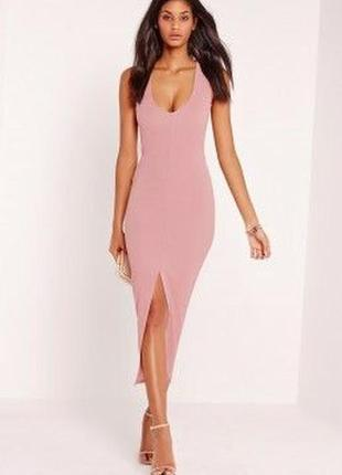 Шикарна міді сукня по фігурі з розрізом знизу