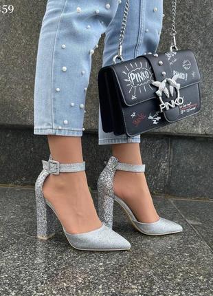 Туфли на высоком каблуке серебреный