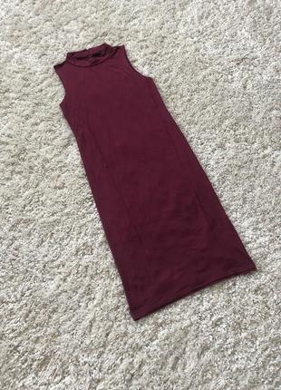 Бордовое платье миди сарафан женский atmosphere