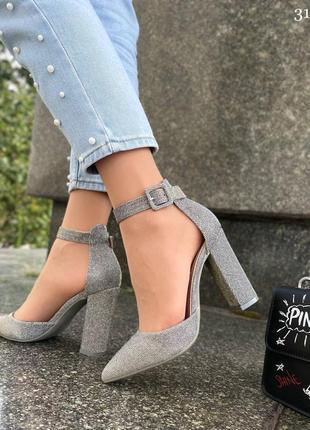 Туфли на высоком каблуке серые с блёстками