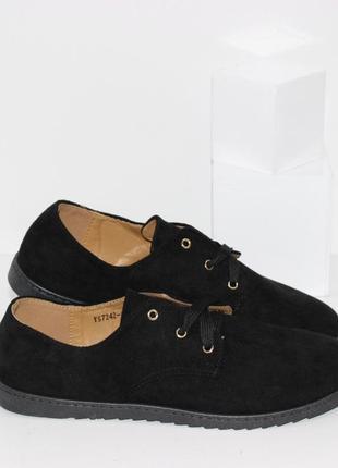 Туфли женские черные замшевые на шнурках