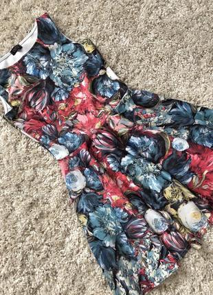 Цветочный сарафан женское платье короткое в цветы
