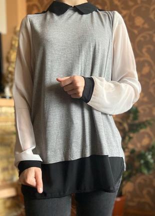 Свитерок, блуза, рубашка с шифоновыми рукавами next