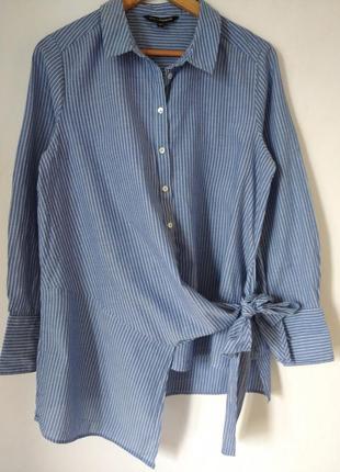Хлопковая рубашка в полоску с ассиметричным низом и завязками cappahl