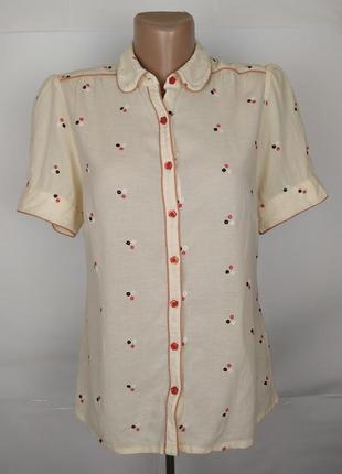 Блуза натуральная красивая с вышивкой monsoon uk 10/38/s