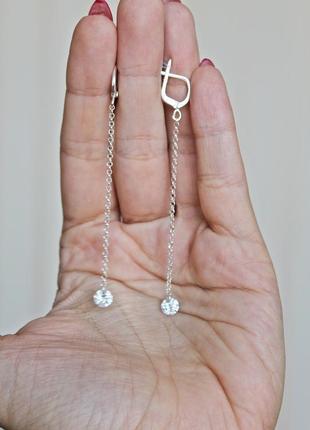 Серебряные серьги мохито (камень 6 мм) англ.замок