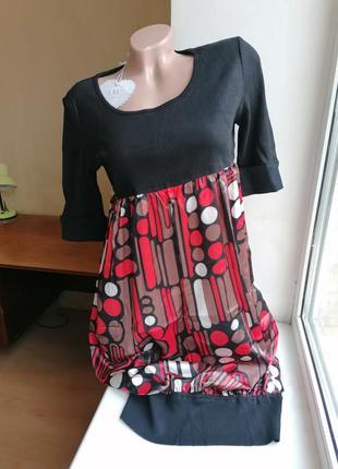 Новое с биркой комбинированное платье-боченок100% шелк lm lulu (к003)