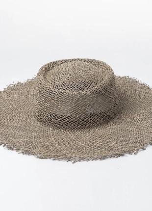 Широкополая шляпа соломенная c бахромой