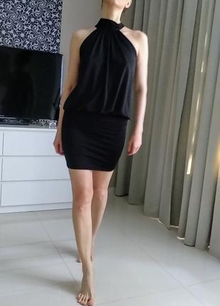 Чёрное коктейльное вечернее платье laura scott