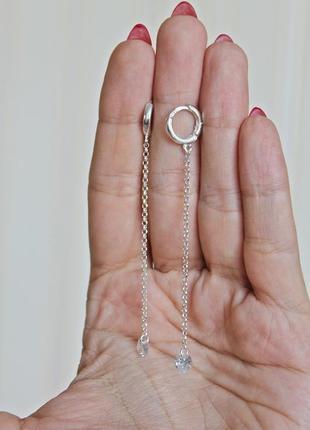 Серебряные серьги мохито (камень 6 мм)