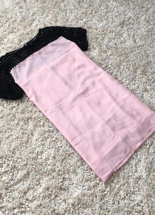 Розовое нежное платье летнее с сеточкой