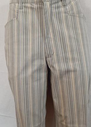 Летние зауженные брюки стрейч в полоску