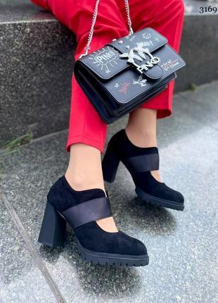 Стильные женские замшевые туфли на удобном каблуке