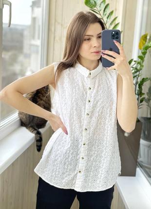 Хлопковая белая блуза рубашка из прошвы 1+1=3