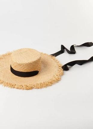 Широкополая шляпа канотье соломенная c бахромой