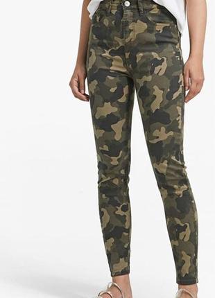 Bershka милитари, камуфляжные хаки джинсы