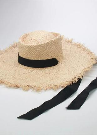 Широкополая шляпа соломенная c бахромой с длинной лентой