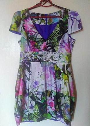 Платье-тюльпан в цветочный принт