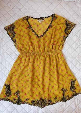 Платье туника с вышивкой , в мелкий цветочек , twentyone m
