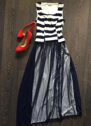 Вечернее платье макси в полоску