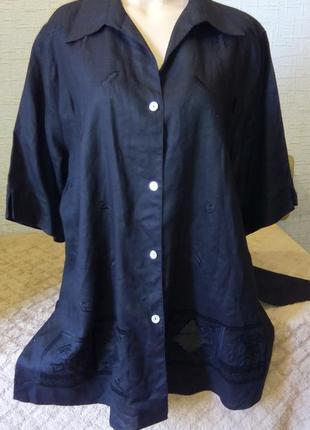 Лен черная блузка рубашка туника большой размер.