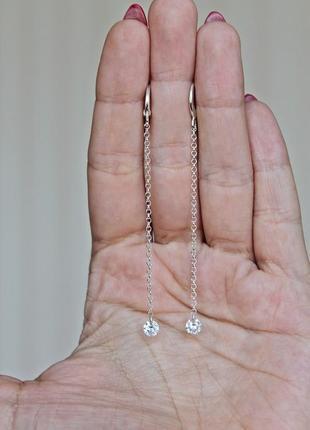 Серебряные серьги мохито (камень 5 мм) англ.замок