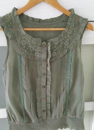 Хлопковая блуза топ с кружевом