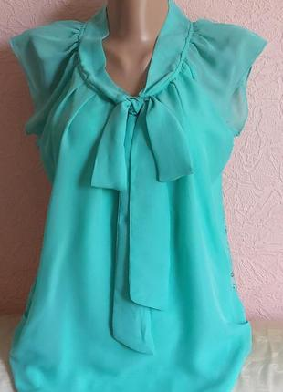 Красивая легкая блуза only на спине кружево акция 1+1 =3