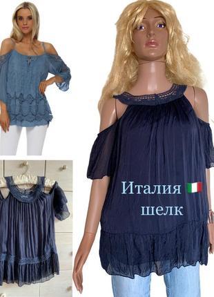 Итальянская шелковая блуза шелк натуральный кружево