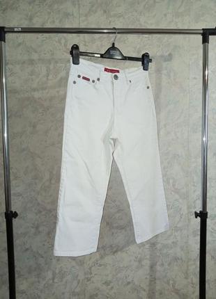 Укороченные джинсы с высокой посадкой белые джинсы с вышивкой бриджи білі джинси з високою посадкою
