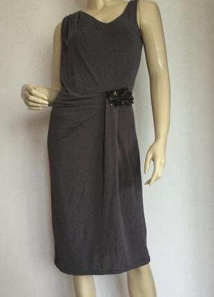 Елегантное коричневое брендовое платье от marella/ max mara/ l