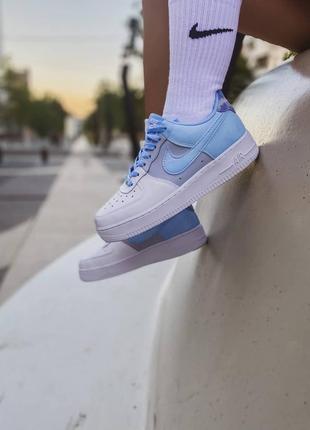 Nike air force 1 psychic blue🆕женские кожаные кроссовки найк аир форс🆕белые с синим