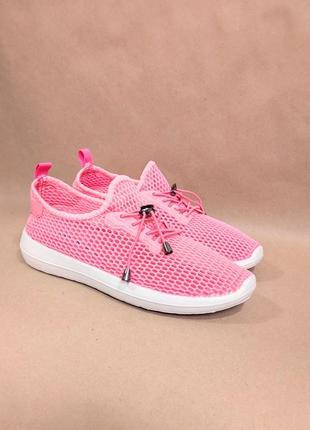 Розовые кроссовки (код 354) сетка рожеві розові кросівки сітка літні