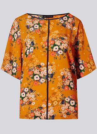 Распродажа! цветочная блуза-кимоно с контрастной отделкой р.24