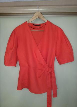 Шикарная алая льняная блузка zara (100% лён) запах, объёмный рукав