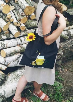 Жіноча сумка,чорний шопер,екосумка