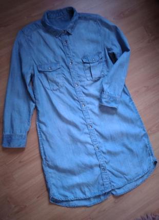 Очень красивое джинсовое платье рубашка с карманами