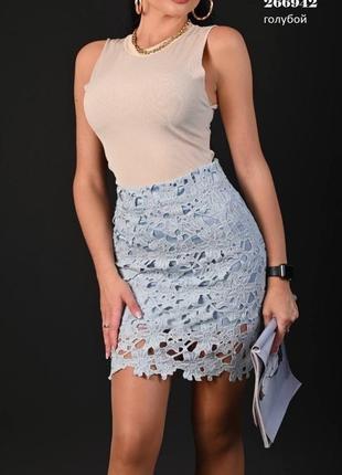 Кружевная голубая юбка