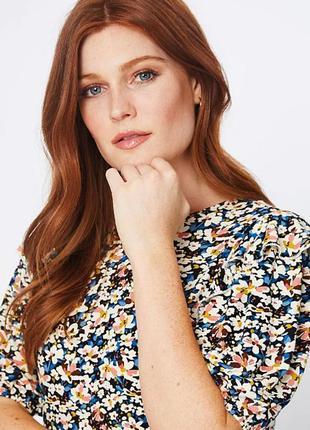 Мягкая цветочная блуза с рукавами фонариками р.24