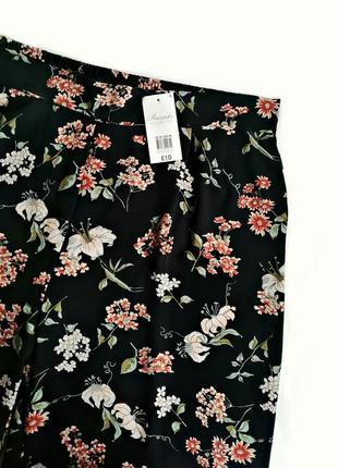 Распродажа! широкие цветочные брюки кроп с карманами р.20