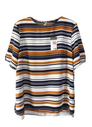 Блузка с коротким рукавом в контрастную полоску р.16