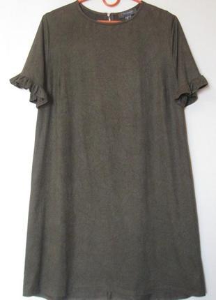 Платье хаки под замшу