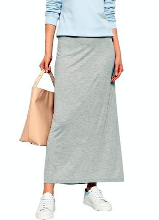 Распродажа! длинная серая юбка из мягкого трикотажа р.16-18