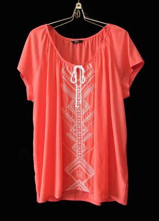 Распродажа! нежная коралловая блуза с вышивкой р.22