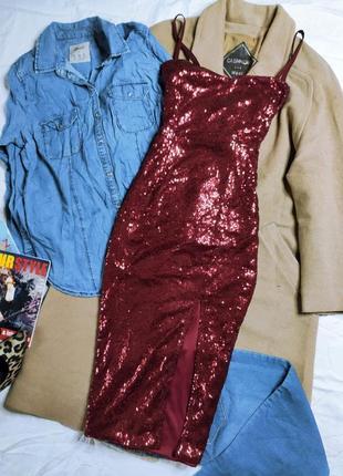 Boohoo платье бордо бордовое марсала бургунди с пайетками по фигуре карандаш футляр