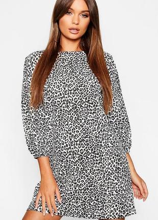 Boohoo платье чёрное белое серое в леопардовый животный принт свободное оверсайз