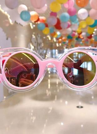 Солнцезащитные розовые стильные очки деьские. новые!