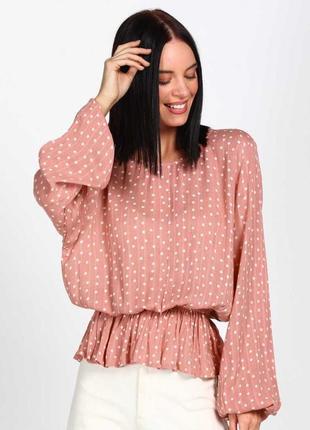 Модная блуза в горошек с широкими рукавами р.16