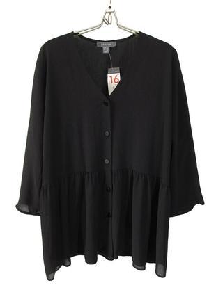 Свободная блуза из жатой ткани на пуговичках р.16
